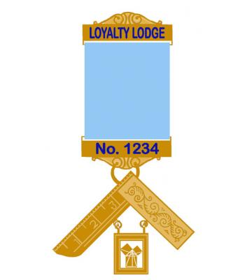 Craft P M Breast Jewel -blue Enamel Lodge Name &  Number On Gilt Bars