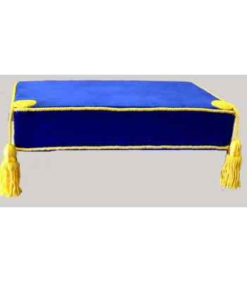 F028 Bible Cushion Blue Velvet Yellow Trimmed